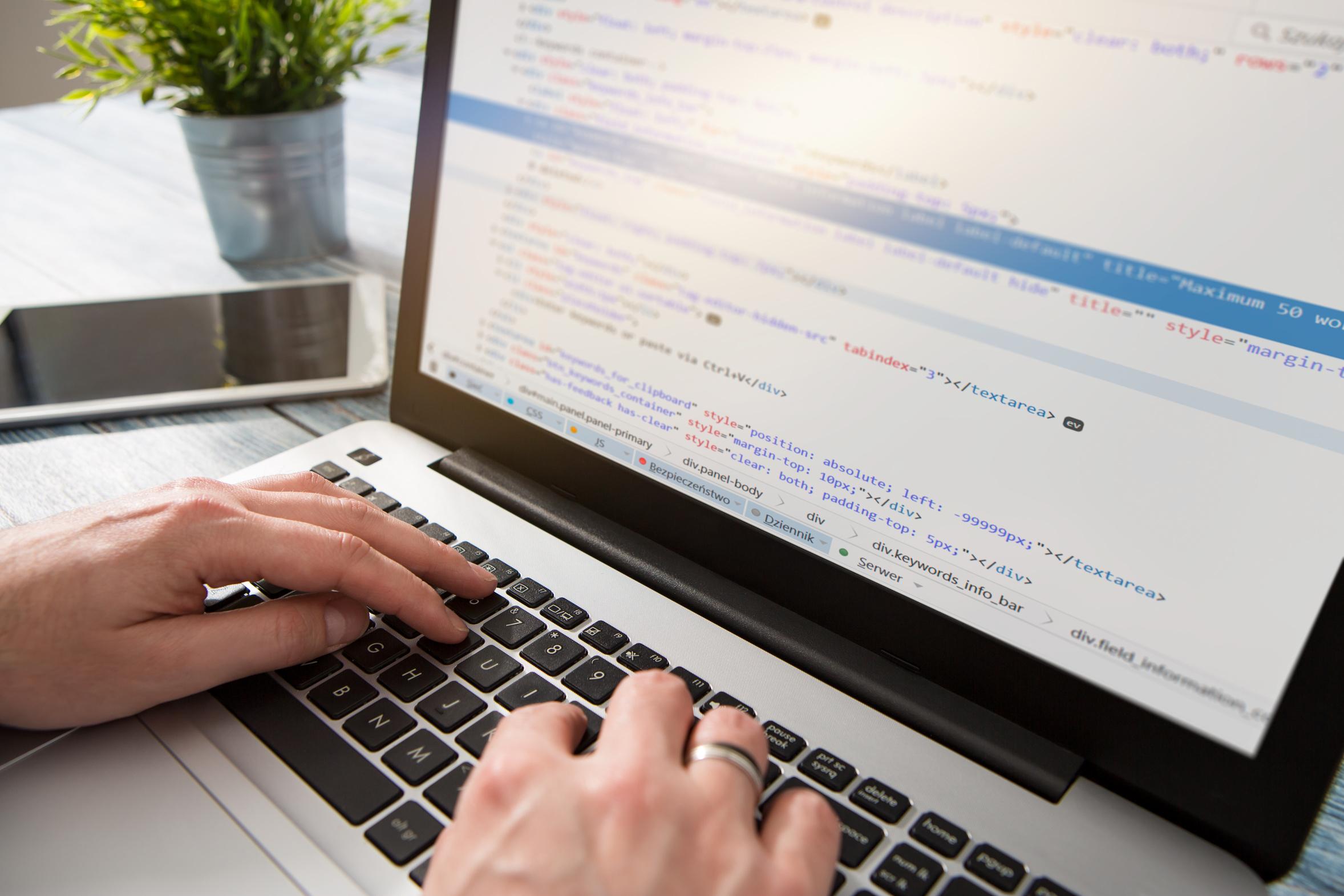 Programmieren am Laptop mit Quelltext auf dem Bildschirm