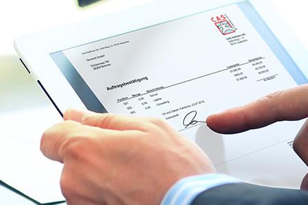 Mobiles unterschreiben auf dem Tablet mit CAS genesisWorld x10