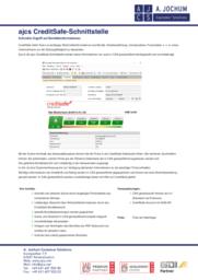 Prospektvorschau des ajcs CreditSafe-Schnittstelle Flyers
