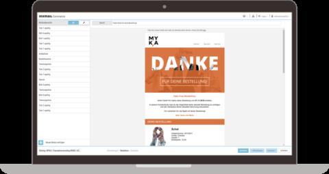 Inxmail Commerce Mailingeditor auf einem Laptop
