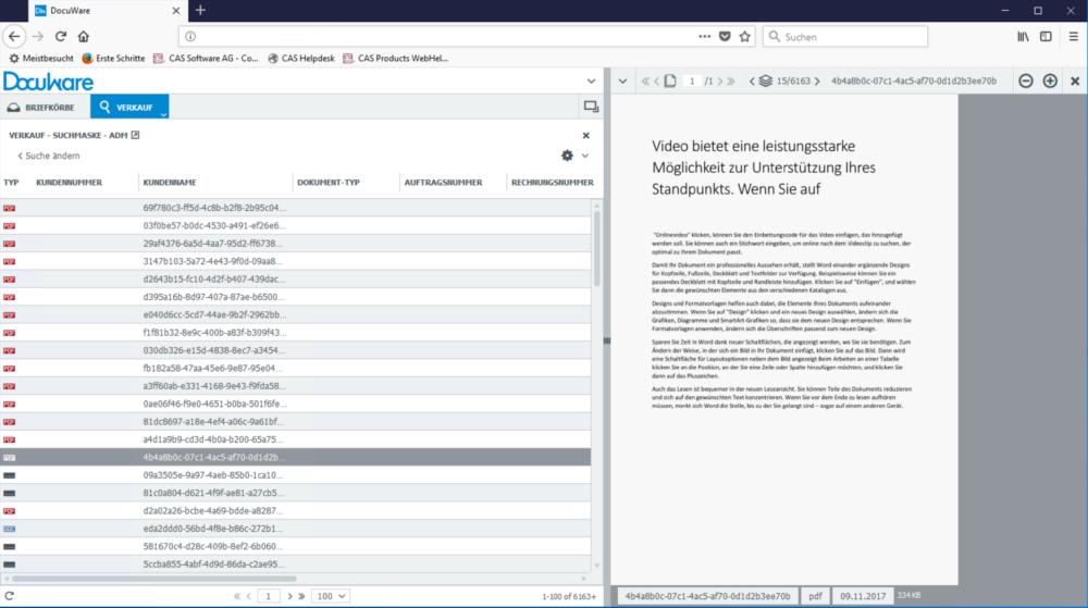 Dokumentenvorschau im Web über DocuWare
