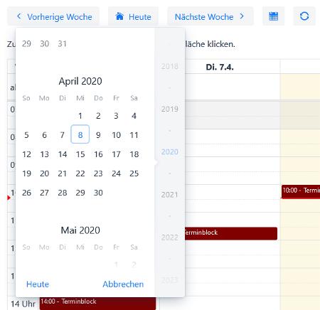 MeetMe Calendar - Monatsansicht um einen online Termin anzulegen