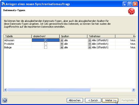 Infra-Connect - Datensatztypen