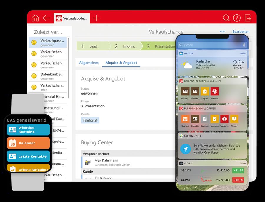 Mobile Ansichten von CAS genesisworld auf dem Tablet, Smartphone und einer Smartwatch