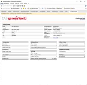 CAS genesisWorld zeigt ein Kundencockpit eines Ansprechpartners